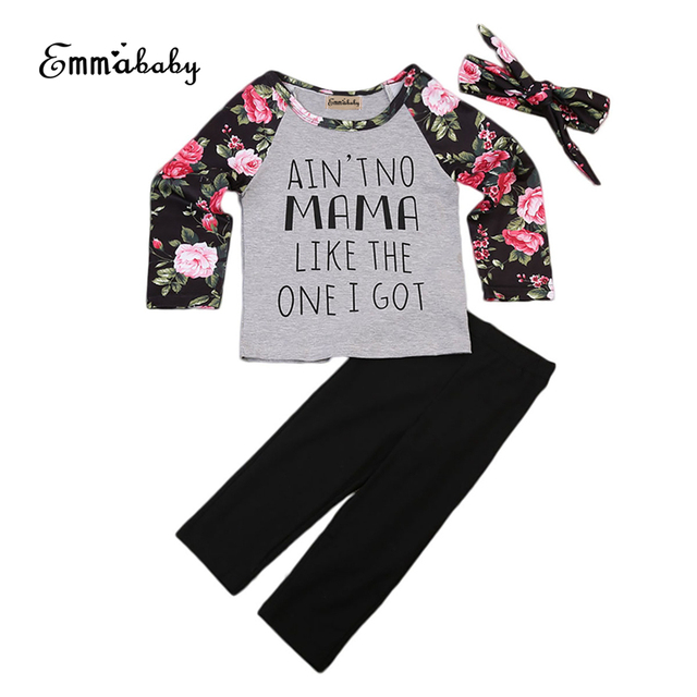 b9e1eebd7c8d Cute Toddler Kids Baby Girls Clothes Outfit Floral Printed Long Sleeve ...