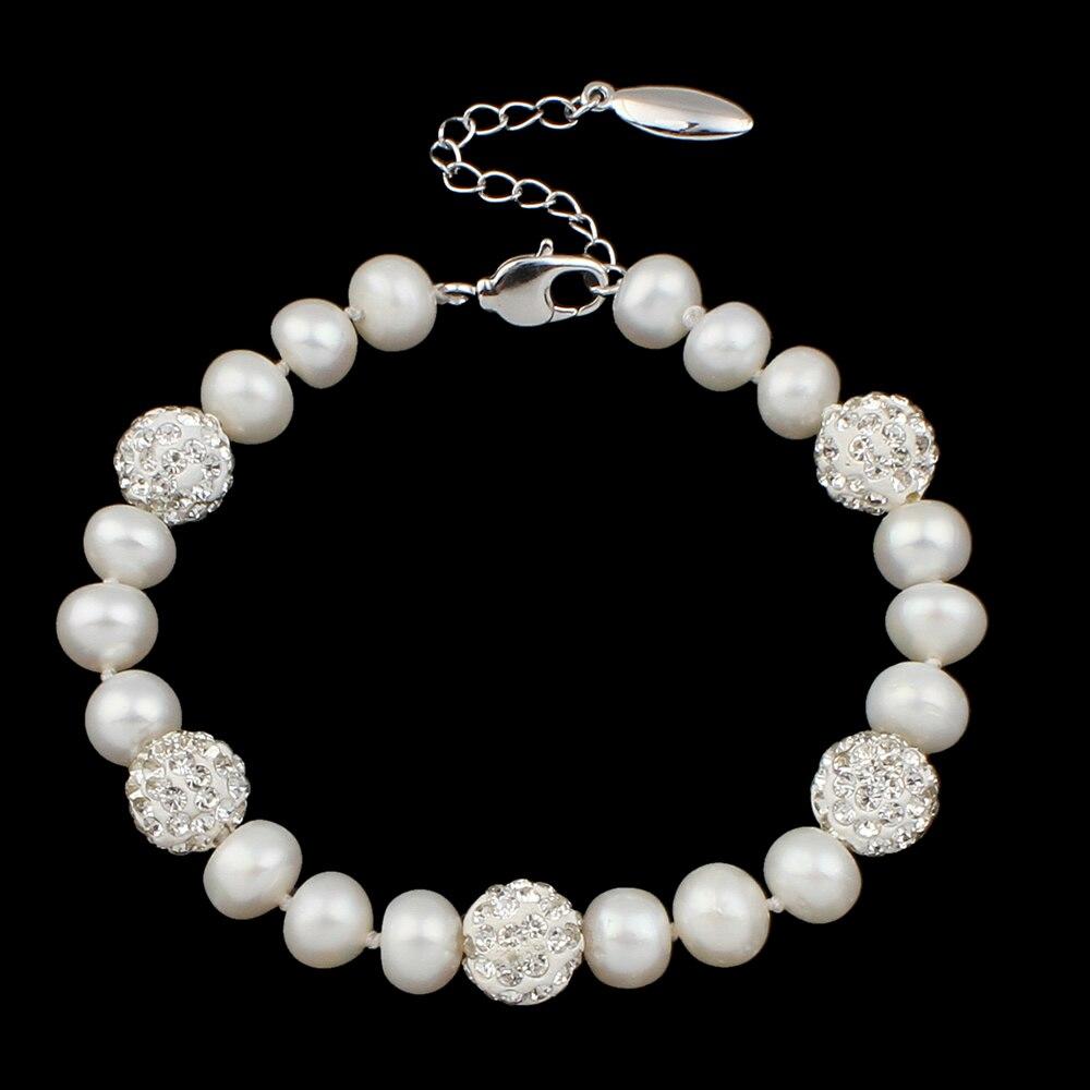 Luxury Bracelets For Women White Pearl Bracelet Freshwater Cultured Pearl Bracelet Beads Trendy Jewelry Girlfriend Gift 2018 New