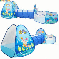 Ocean Sence 3pc Pop Up Children Play Tent Crawl Tunnel Kids Toy Tents Baby Indoor Outdoor