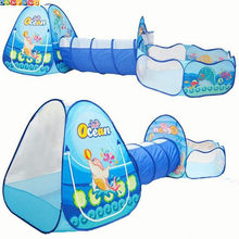 Ocean Sence 3pc Children Play Tent Crawl Tunnel Ball Pool Kids Toy Tents Baby Indoor Outdoor Use Large Children for tent House(China)