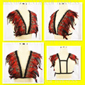 2016 Festival Clothing Feather Epaulettes Bondage Shoulder Wings,Gothic Gypsy Bra Lingerie, Feather Burlesque Rave Wear Crop Top