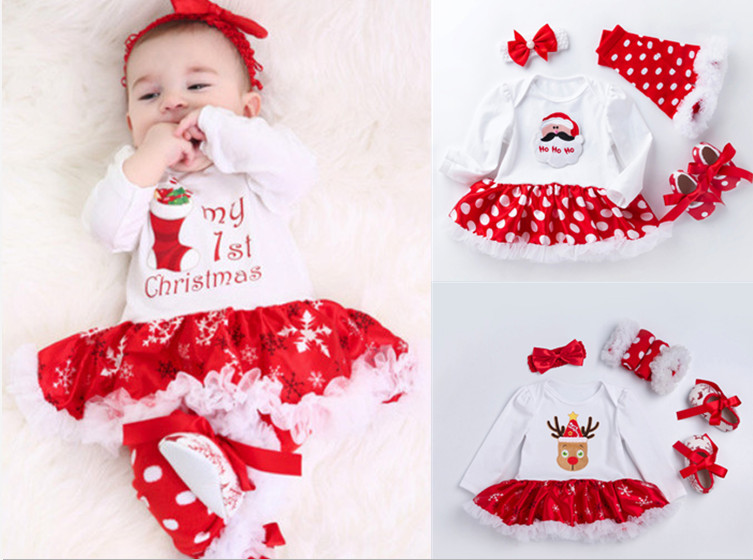 My First Christmas Clothes Sets For Baby Girls Cute Newborn Cotton Romper Ruffle Tutu Dresses 4 piece Clothing Sets Infant Gifts fashion newborn baby girls christmas ruffle red lace romper dress sister princess kids xmas party dresses cotton costume romper