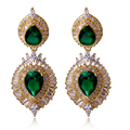 Top Quality Big drop Earrings Gold Plated AAA Cubic Zirconia Green/BLUE/SIAM/JET Color Earrings  Allergy Free Lead Free