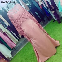 Elegant Pink Lace Mother Of The Bride Dress Evening Gown With Cloak Plus Size Kaftan Mermaid Long 2018 Prom Formal Dresses