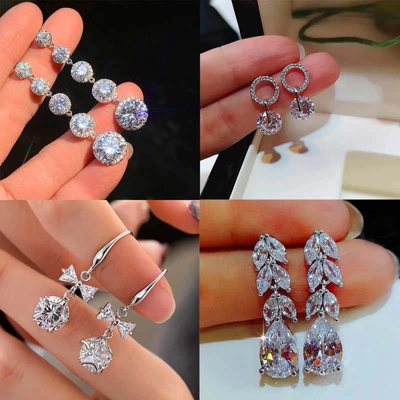 Female Crystal White Zircon Stud Earrings Vintage 925 Sterling Silver Wedding Jewelry Boho Bow Leaf Round Earrings For Women