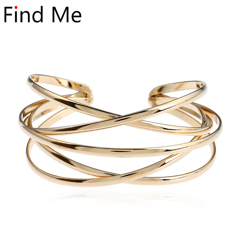 Find Me 2018 new brand Vintage Punk Bracelets & Bangles for Women Jewelry multilayer Geometry Hollow out Cuff Bracelet wholesale