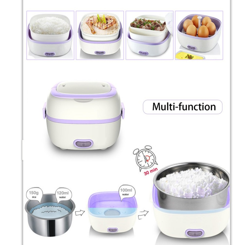 Multifunctional Electric Heating Lunch Box Mini Rice Cooker Portable Food Steamer Heat Preservation Electronic Lunch Kitchen Box 2 2l small appliances round mini rice cooker 4 layer electric lunch box electronic heating lunch box