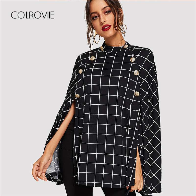 COLROVIE Black Office Double Button Mock Vintage Women Plaid Poncho Coats 2018 Streetwear Cape Clothes Winter Warm Lady Outwear