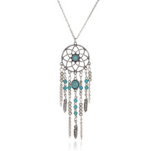 Trendy Style Dreamcatcher Pendant Necklace Feather Stone Jewelry Dream Catcher Sweater Chain