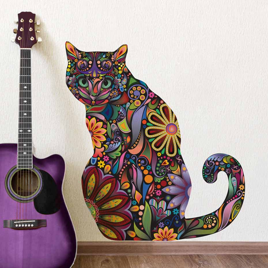 Modern Flower Cat Decal Vibrant Floral Pattern Plane Wall Stickers For Living Room Wall Art Decals Mural Adhesive Home Wallpaper
