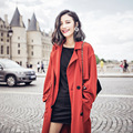 Красный Плюс Размер Траншеи Длинные Пальто Для Женщин 2016 Новый складки устойчивы Femme Feminino Jaqueta Бомбардировщик Куртки Trenchcoat Clothing
