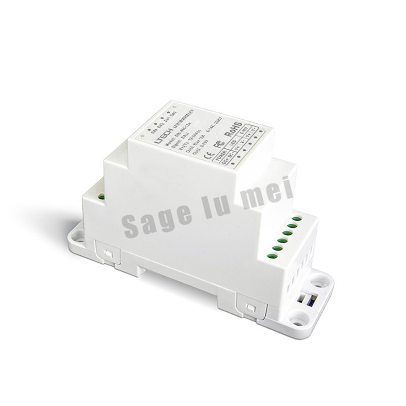 DIN-411-10A;DALI to PWM CV Dimming Driver(DIN rail/Screw dual-use) DALI Dimming Signal;DC12-24V input;10A*1CH +0-10V *1CH output lt 810 10a led constant voltage dmx pwm decoder 1ch dimming dedicated 10a 1channel output