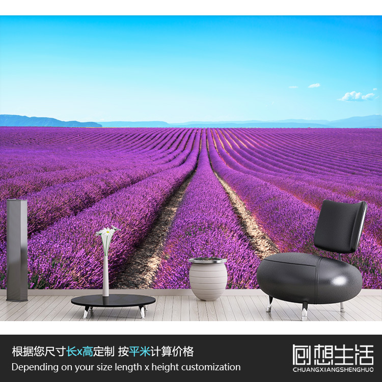 Large scale murals/modern 3D stereo romantic pastoral 3D wallpaper/Lavender sofa in the living room bedroom wall 3D wallpaper blue earth cosmic sky zenith living room ceiling murals 3d wallpaper the living room bedroom study paper 3d wallpaper