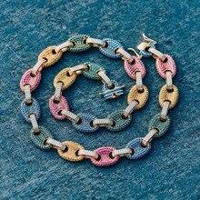 TOPGRILLZ collier à maillons en Zircon cubique, couleur argent, or massif, bijoux Hip hop, chaîne à maillons glacés en cuivre pour hommes, cadeau