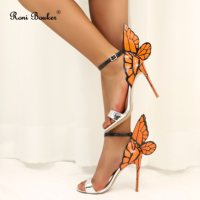 Roni Bouker Women Fashion Angel Sandals Ladies Party Wedding Shoes Print Strapy Woman Stiletto High Heels Genuine Leather Orange