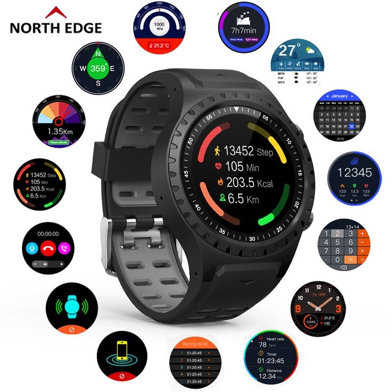 North Edge GPS reloj deportivo llamada Bluetooth modo Multi-Deportivo brújula altitud al aire libre corriendo música reloj inteligente ritmo cardíaco