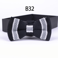 Unique Knitted Bowtie Fashion Lovely Black with Gray Striped Butterfly Male Bowties Knit Men Tie For Party