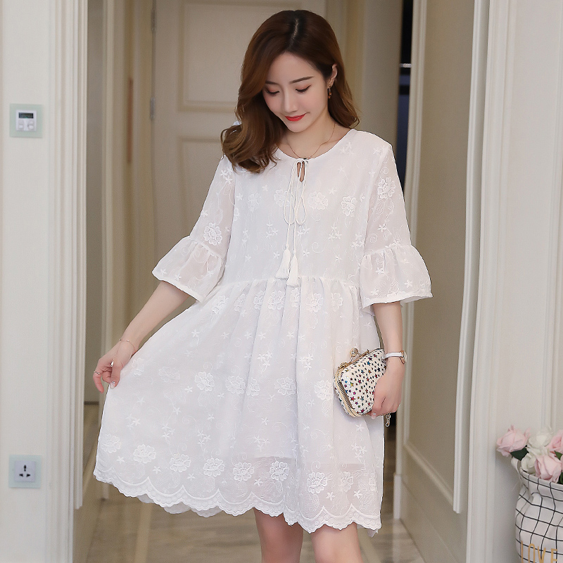 Lace Maternity Dress Embroidery Pregnancy Clothes Fashion Cute Chiffon Pregnancy Clothing Of Pregnant Women Photo Shoot