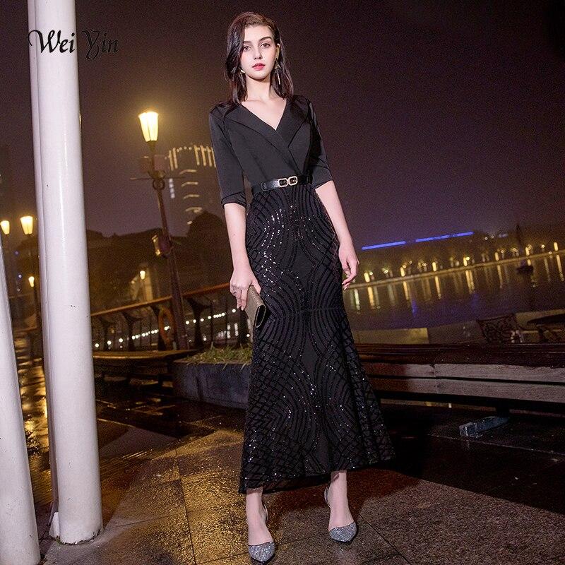 weiyin Luxury Mermaid Long Formal Dress Evening 2019 Evening Gown Women V Neck Half Sleeves Banquet bodycon Maxi Party Dress