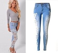 Горячий Новый! женская мода дизайн кружева джинсы женские повседневная ковбой брюки Хлопок Джинсовые Брюки Slim Fit Джинсы Для Женщин