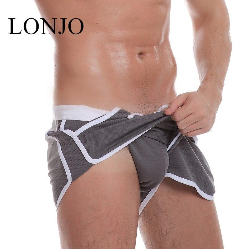 Brand Clothing LONJO Men's Casual Shorts Household Man Shorts G Pocket Straps Inside Jocks Straps Trunks Beach Shorts Quick-dry