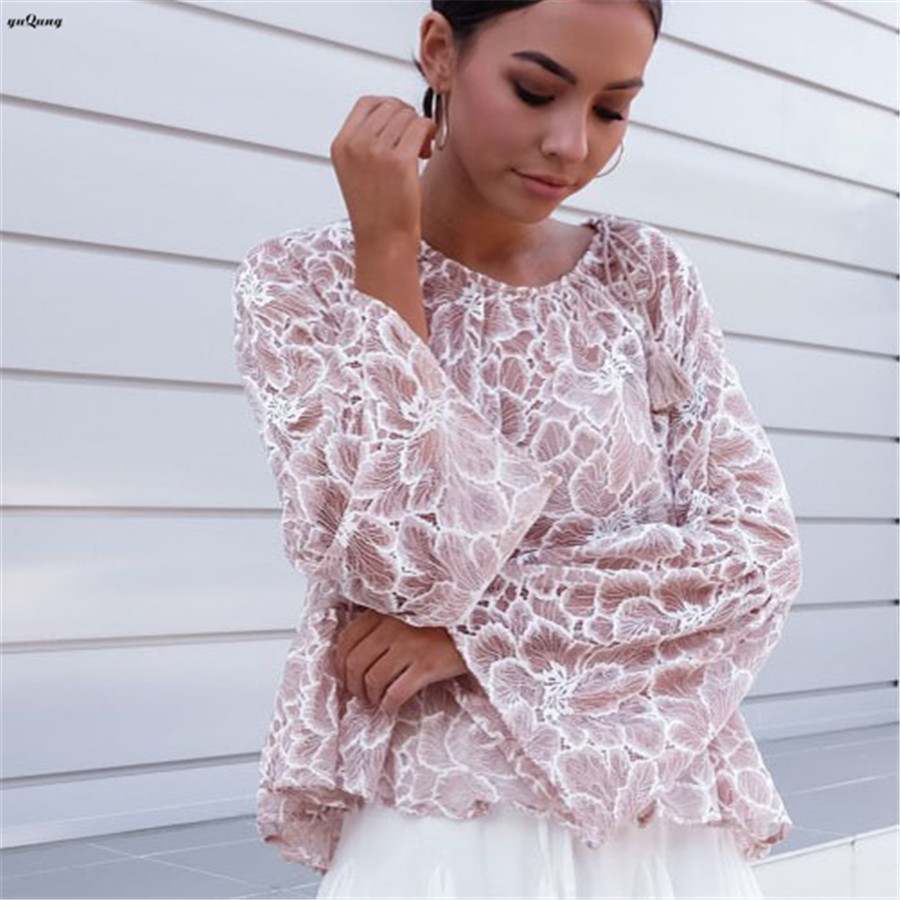 865938cda36 yuqung Elegant floral lace blouse shirt Women Hollow Out flare long sleeve  ruffles blouse tees autumn brand tops blusas pink L41-in Blouses   Shirts  from ...