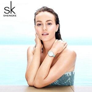 Image 4 - Shengke relojes de lujo para mujer, reloj de pulsera femenino de cuero blanco, de cuarzo con vestido combinado, Ultra delgado, 2020
