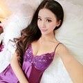 2017 None Solid V-neck Nightgown Sexy Lingerie Women Pyjamas Nightwear Silk Ladies Sleepwear Chemise De Nuit