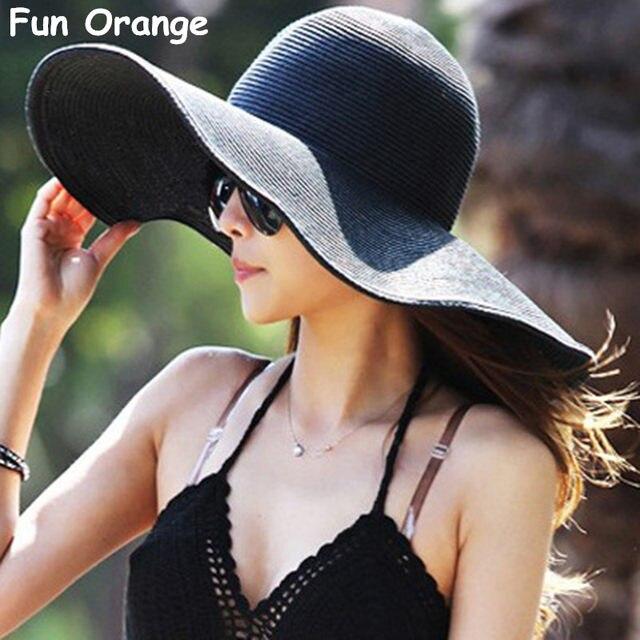 Fun Orange Summer Women s Foldable Wide Large Brim Beach Sun Hat Straw Beach  Cap For Ladies Elegant Hats Girls Vacation Tour Hat af097f90a7a