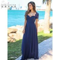 Customized Backless Elegant Lace Cap Sleeve Chiffon Bridesmaid Dresse Wedding Gowns Long Prom Formal Party Dresses Vestido Longo