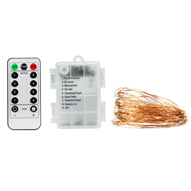 DVOLADOR Waterproof Holiday Light Battery Operated 8 Modes String Lights Copper Wire Remote Control for DIY Wedding Party light