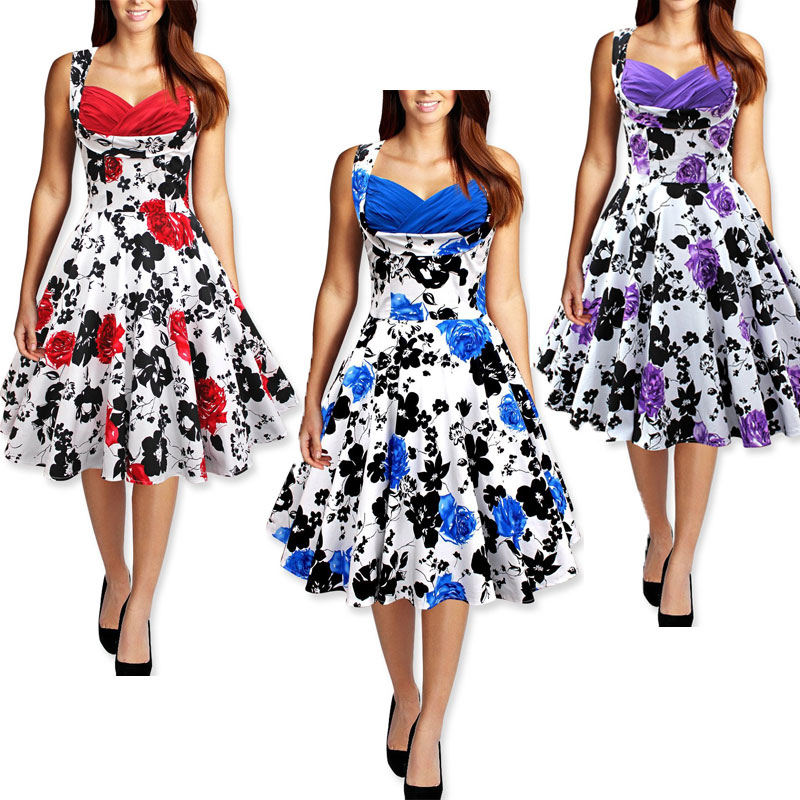 WOMENS 50/'s 60/'s VINTAGE Hepburn Style Swing Skater FLARED EVENING PARTY DRESS