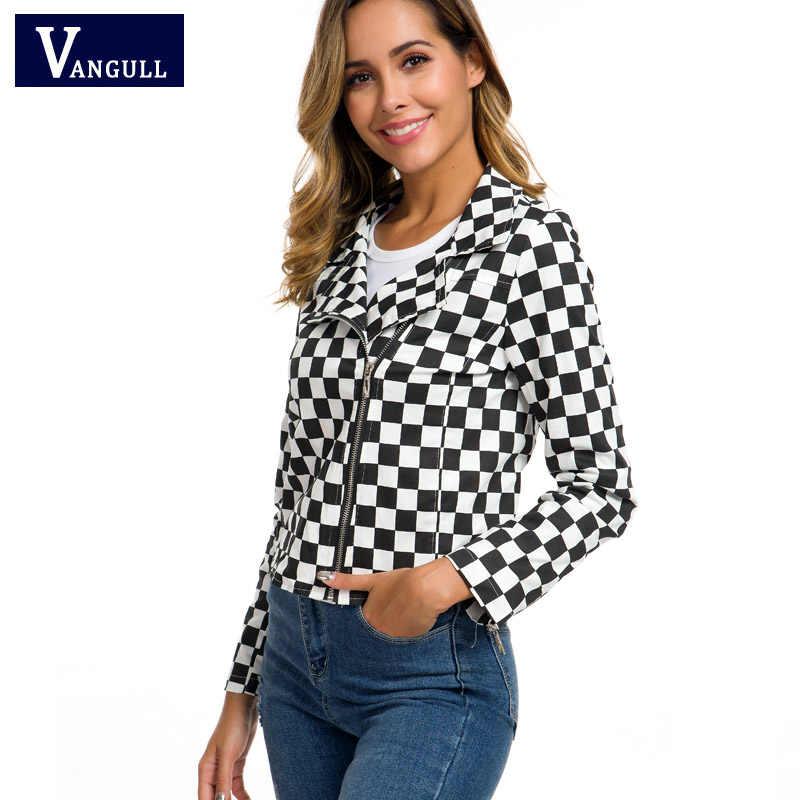 Vangull 2019 Phụ Nữ Mới Checkerboard Áo Khoác Thu Đông Cotton Đen Trắng Kẻ Sọc Áo Dạo Phố Áo Khoác Dây Kéo Nữ Ca Rô Top