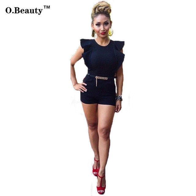 2016 Rompers Womens Jumpsuit New Preto Playsuit Shorts Clube Outfits Macacão Sexy Macacão Manga Curta Partido Bodysuit Do Vintage