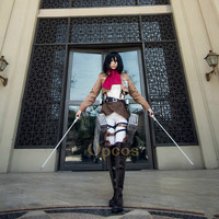 Attack on Titan Cosplay Shingeki no Kyojin Mikasa Ackerman Cosplay Costume Women Halloween Costumes Full Set