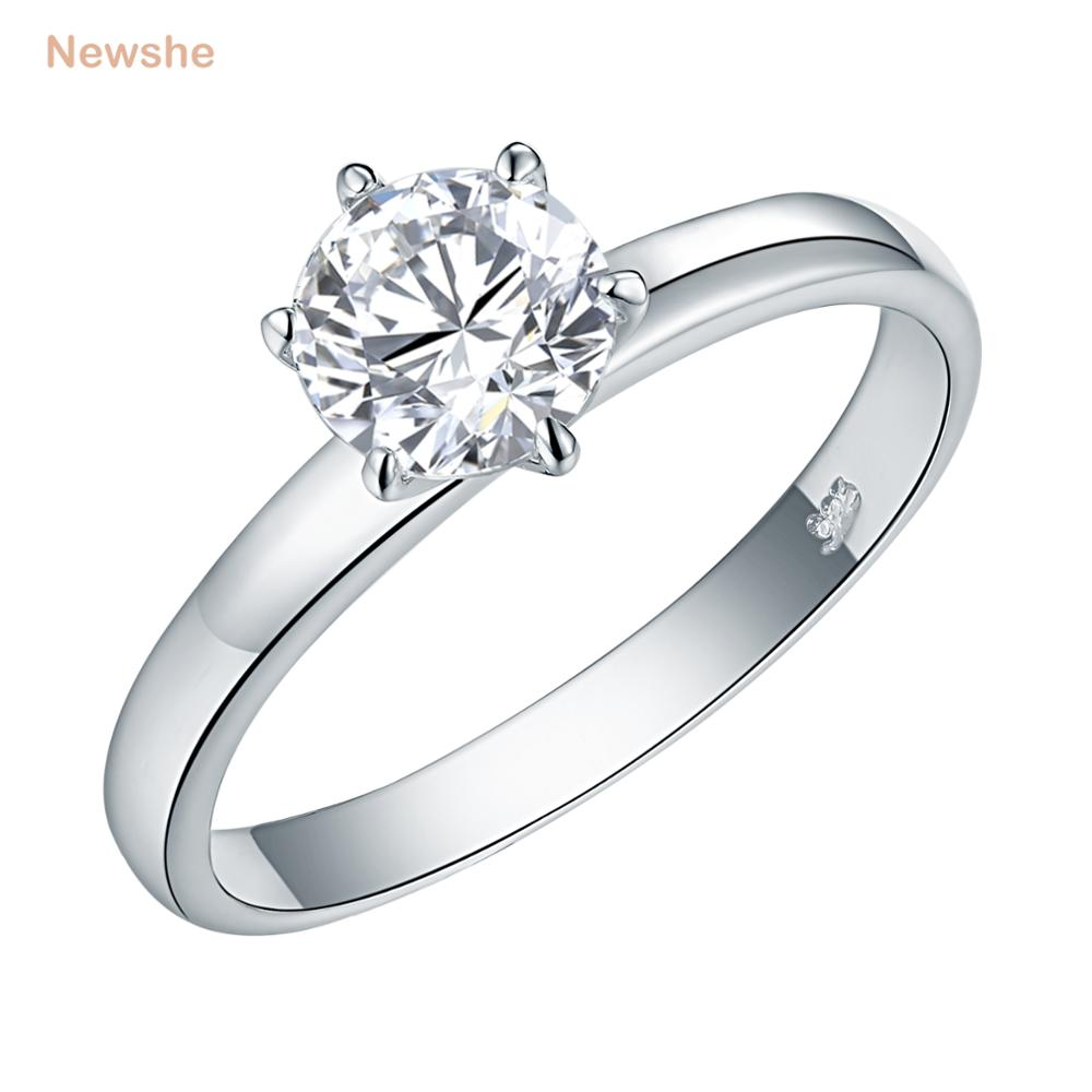 Newshe 1.25 Ct Solid 925 Sterling Silver Solitaire Wedding Engagement Ring Fashionable Jewelry For Women JR4595