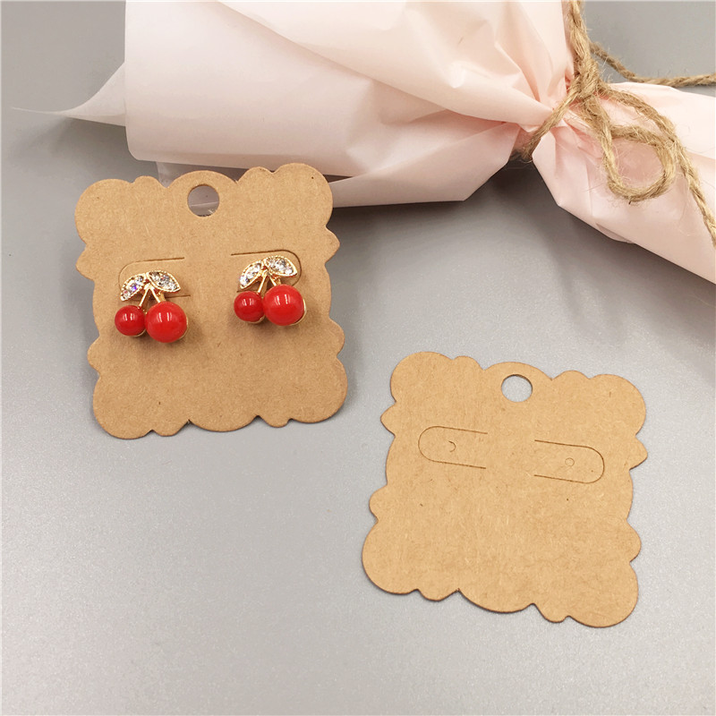 50pcs Square Laciness Shape Earring Paper Cards Vintage Kraft Paper Stud Ear Packaging Card 5*5cm