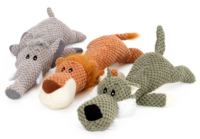 Hellomoon Pet Toy Animal Shape Lion Elephant Sound Chew Three Colors Interactive Toys