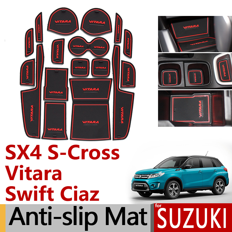 Anti-Slip Rubber Gate Slot Cup Mat For Suzuki SX4 S-Cross Swift Ciaz Vitara 2014 2015 2016 2017 2018 S Cross Accessories Sticker
