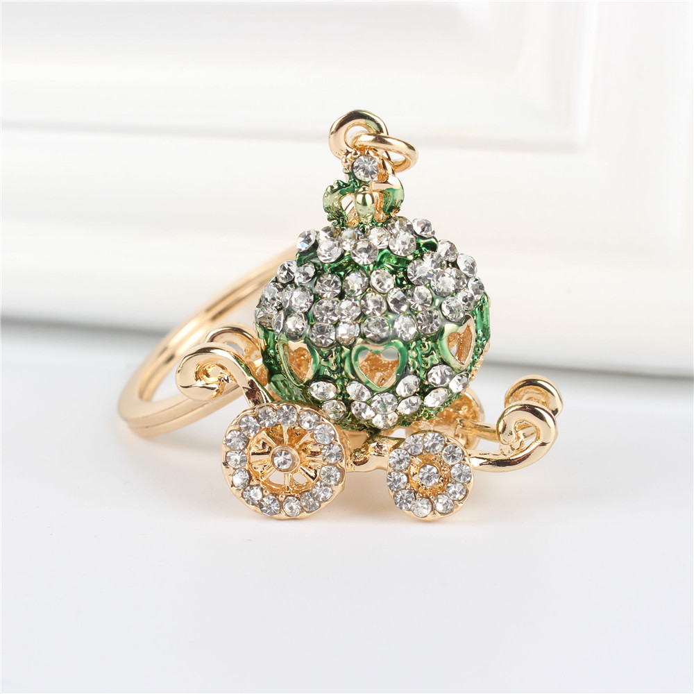 Green Pumpkin Carriage Pendant Charm Rhinestone Crystal Purse Bag Keyring Key Chain Accessories Wedding Party Lover Friend Gift