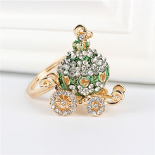 Green Pumpkin Carriage Pendant Charm Rhinestone Crystal Purse Bag Keyring Key Chain Accessories Wedding Party Lover