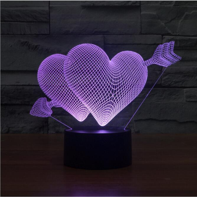 Creative 3D illusion Lamp LED Night Light 3D Arrow Through Heart Acrylic Discoloration Colorful Atmosphere Lamp Novelty Lighting