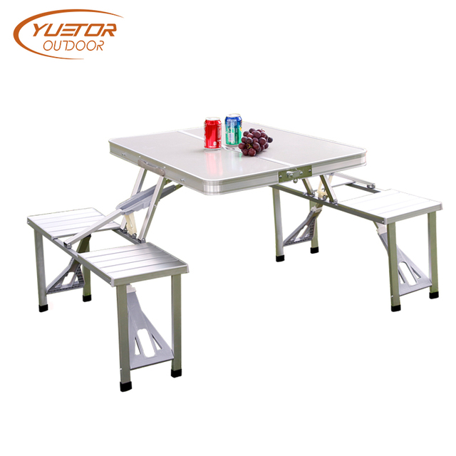 Yuetor Outdoor Folding Camping Tables Multifunction Aluminum Alloy Picnic Table Chair Set Portable Fishing