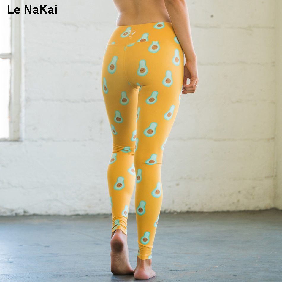 Le NaKai 3D Printed Cute Aligator pear Fruit Printed Yoga Pants For Women Avocado Printed Women Yoga Leggings Gym Sports Tights