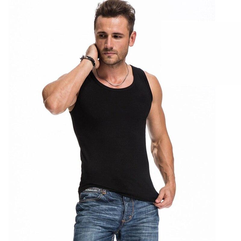 Nieuwe 2016 zomer basic vest 100% katoenen tanktop heren bodybuilding - Herenkleding