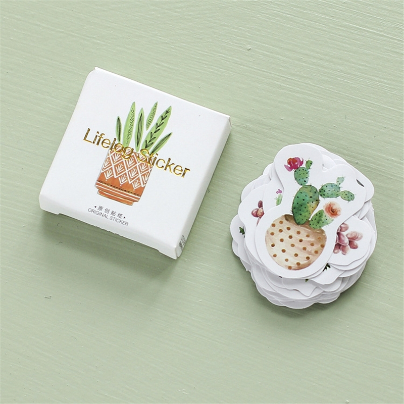 45 Pcs/Set Cactus Plant Flower Stickers Cartoon Cute Creative DIY Stationery Scrapbooking Diary Notebook Kawaii Sticker Boxed image