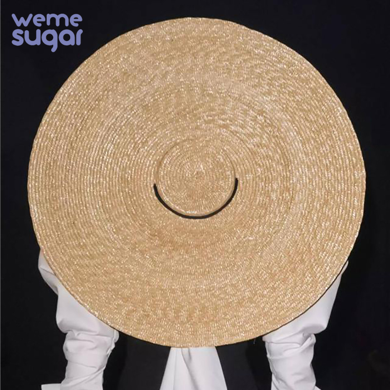 WeMe New Big Brim Wheat Straw Sun Hats For Women 12cm 15cm 18cm Brim Ribbon Bowknot Layies Beach Cap