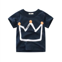 Baby Boys Crown Printed Boys T Shirt New Summer Children Kids Boy's Clothing Cotton Baby Toddler Boys Short Sleeve T Shirt new 2018 brand summer 100% cotton baby boys clothing toddler children kids clothes tees t shirt short sleeve t shirt boys blouse