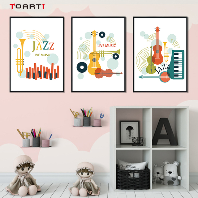 Colorful Musical Instruments Wall Art Minimalist Abstract Paintings Nordic Jazz PostersPrints Living Room Home Decor Live Mucis