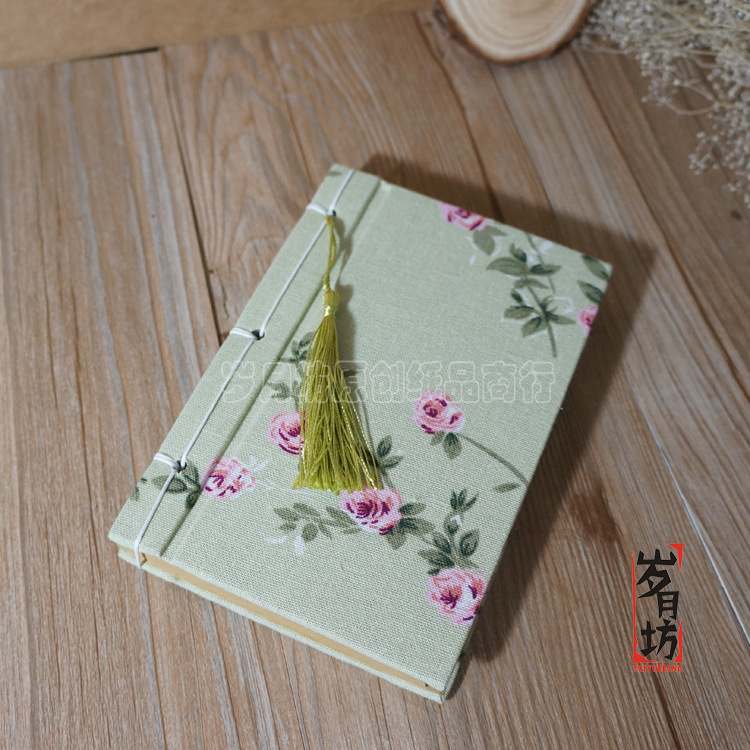 Book Cover Decoration ~ Retro style vintage printing flowes handmade cotton fabric